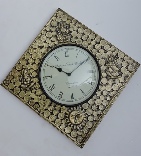 Wooden Square Brass Fitted Coin and Goddess Design Wall Clocks