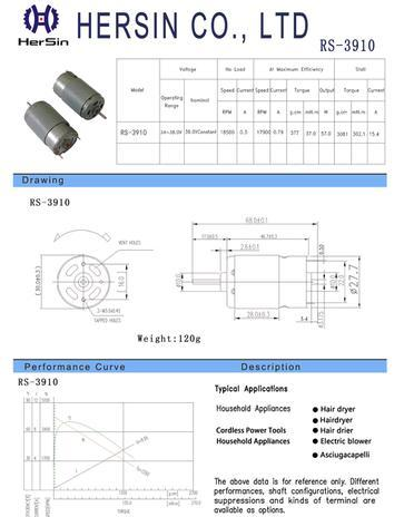 RS3910 High Voltage DC Motor For Household Appliances
