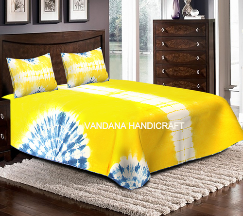 Designer Tie Dye Bedsheet Hand Dyed Bedcover With 2 Pillow Cover