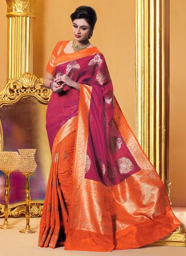 d123a5d041 Meghdoot Pink and Orange Colour Kanchipuram Spun Silk Woven Saree in ...