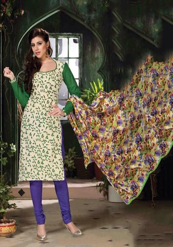 Suit Dark Green With Cotton Dupatta