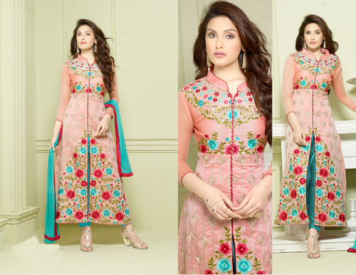 Cotton Embroidered Designer Navy Blue Straight Suits