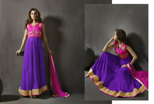 Pink And Blue Embroidered Silk Anarkali Suit