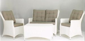 Valencia Wicker Furniture 4 Pieces Deep Seating Sofa Set With Cushions