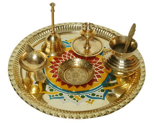 Designer Brass Pooja Thali Set for Diwali pooja