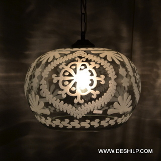 Glass Handcrafted Decorated Small Glass Hanging Light