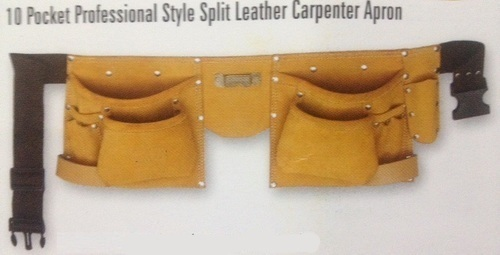 10 Pocket Professional Style Split Leather Carpenter Apron