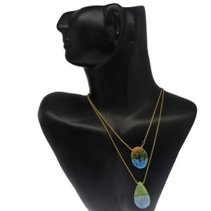 Bio Color Druzy Gold Plated Double Layer Long Chain Designer Necklace