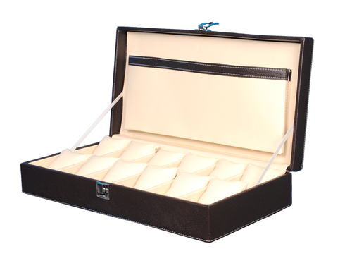 Fico Brown Watch Box For 12 Watches