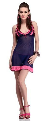 Nightdress with brief in navy blue in  New Area