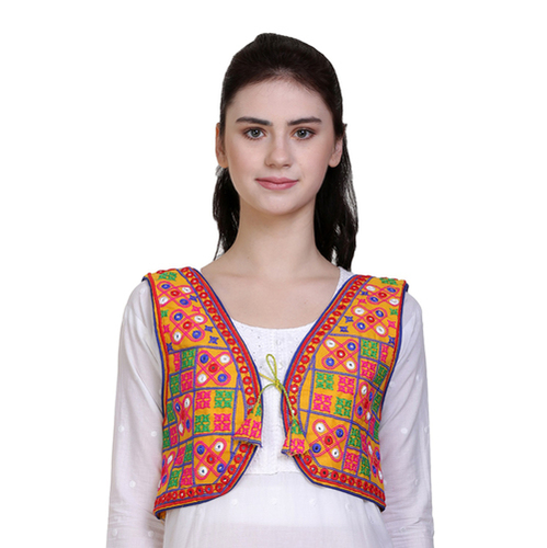 Ethnic Embroidered Multicolour Curved Ladies  Jacket