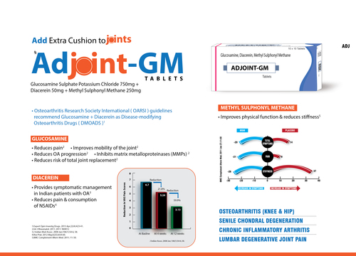 Adjoint Gm Diacerin 50mg Glucosamin Sulphate 750mg Msm Tablet