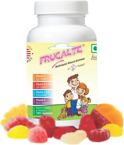 Frucalte, Rickegum, Stru-D Multimineral + Multivitamin Gummies Calcium 50mg + Vitamin-D Gummies Vitamin -D Gummies