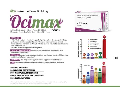 Ocimax (Calcium Citrate 1000 Mg,Zinc 15 Mg,Magnesium 50 Mg,Vit.D3 1000 Iu,Vit.K2-7 50 Mcg)