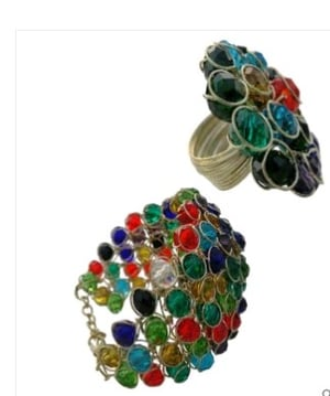 Handcrafted Metal and Beads Bracelet with Finger Ring