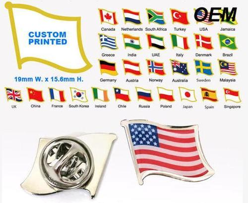 Free Mold Fee Custom Printing Country Flag Lapel Pins