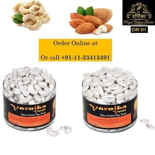 Royal Dry Fruit Gift Pack - Pure Edible Silver Coated Cashew and Almonds