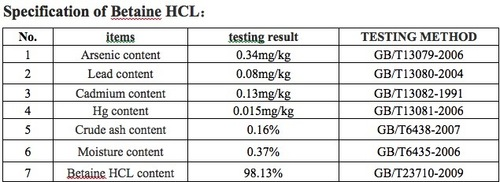 High Grade Betaine Hcl