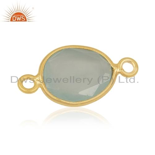 Aqua Chalcedony Gemstone Connector Jewelry