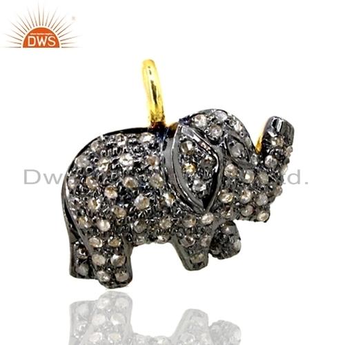Diamond Pave Elephant Pendant Finding