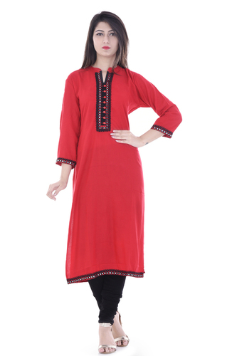 Pure Cotton Slub Embroidered Kurti Red Colour Girls And Women