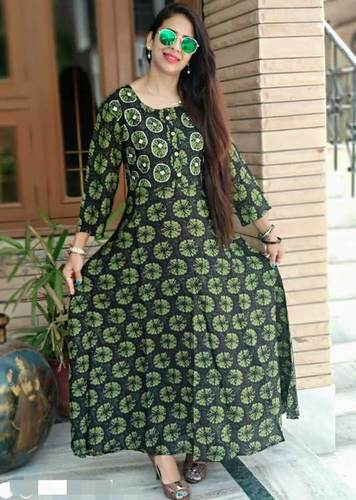 Rayon Style Printed Long Dress With Highlight Embroidery
