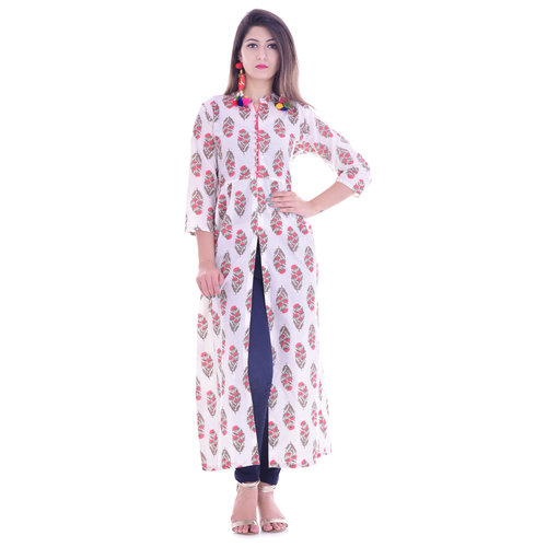 White Cotton Straight Indo Western Long Dress 2408789d3