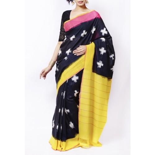 Multicolour Single Ikkat Handloom Cotton Saree