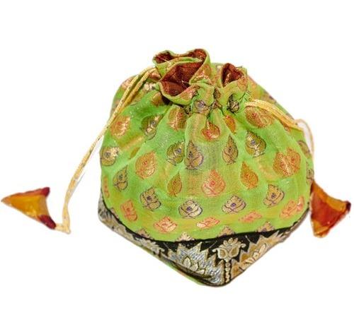 Parrot Green Handcrafted Banarasi Silk Potli Bag
