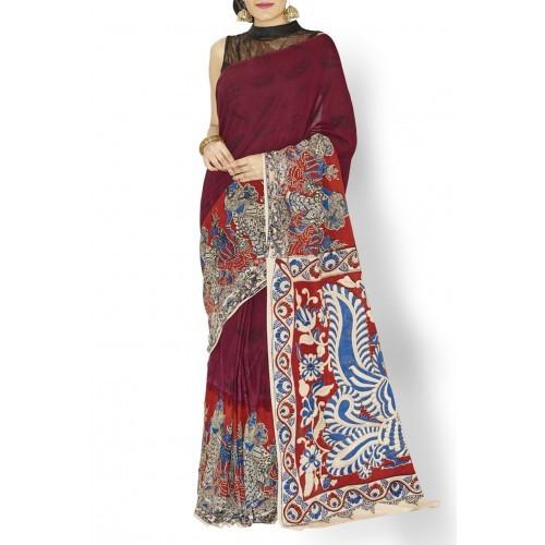 Purple Kalahasti Kalamkari Handloom Cotton Saree