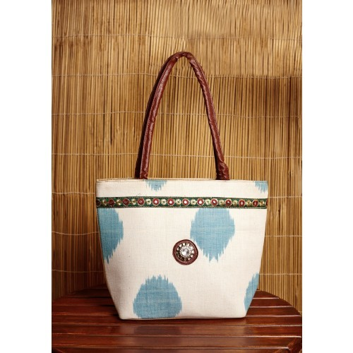 White Ikkat Handcrafted Cotton Bag