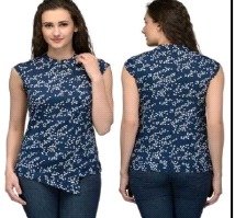 Blue Poly Crepe Tops