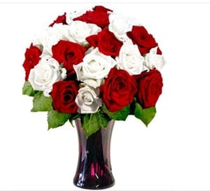 Red Meets White Roses Flower Bouquet