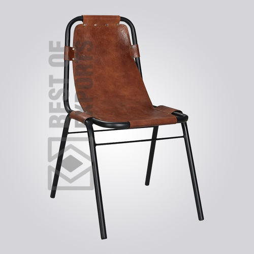 Industrial Side Chair With Leather Seat