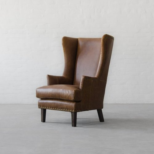 Modern Leather Wing Back Chair