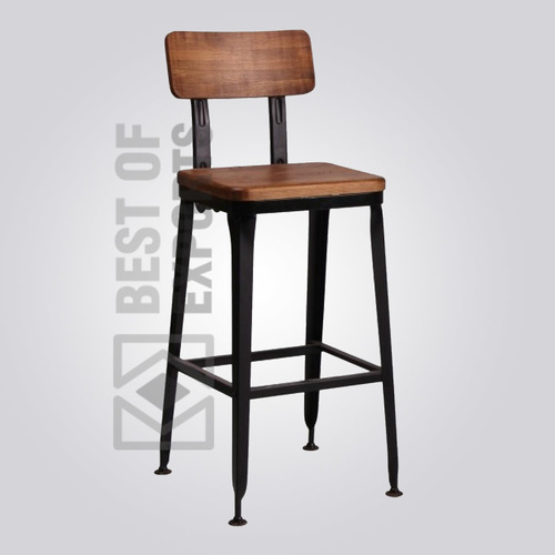 Vintage Bar Stool With Wooden Seat