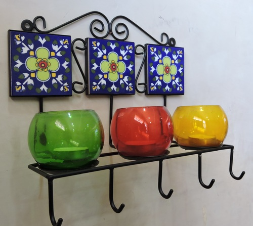 Hand Painted Metal Wall Decorative T Light Holders