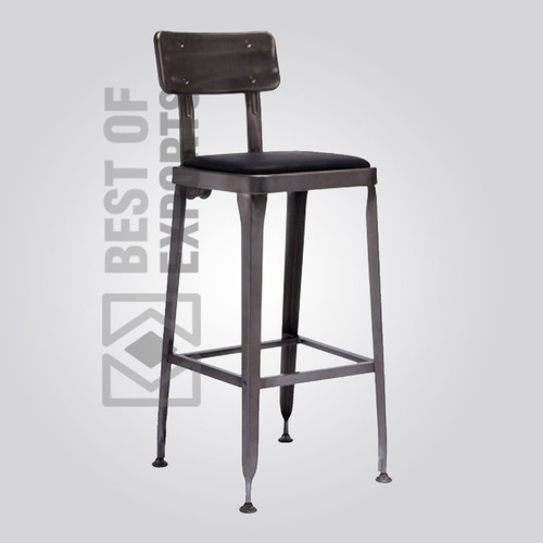 Industrial Bar Stool With Leather Seat Black in  New Area