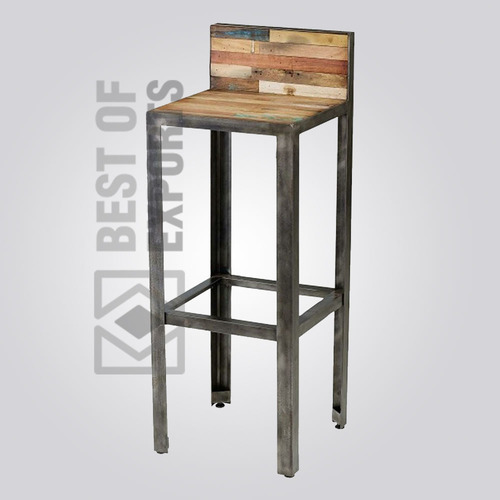 Industrial Bar Stool with Reclaimed Wood