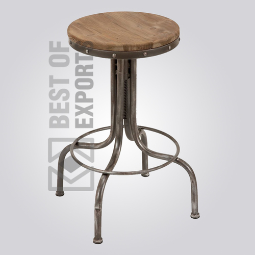 Round Bar Stool With Wooden Seat