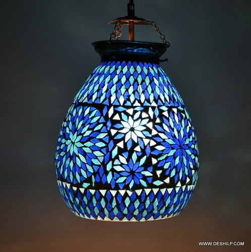 Blue Mosaic Handcrafted Shaped Glass Hanging Light
