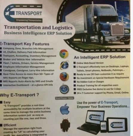 E Transport Online Transport Management Software Services in