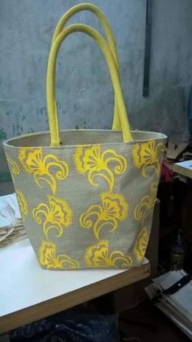 Yellow Print Jute Hand Bags