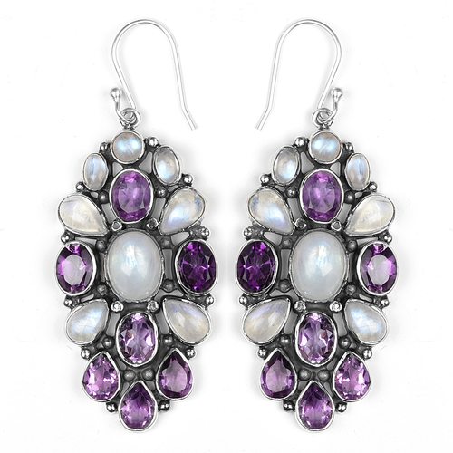 Designer Amethyst And Rainbow Moonstone Silver Earrings