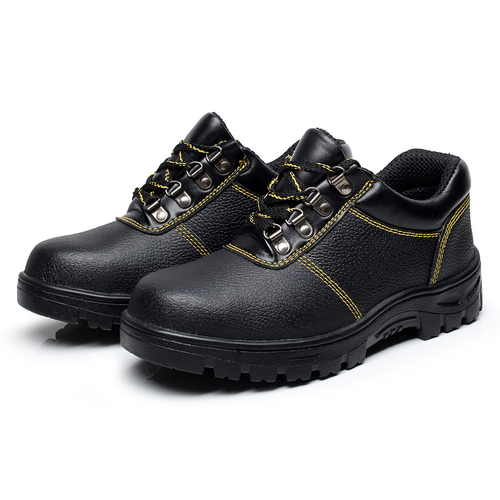 Black Embossed Leather Upper Pu Outsole Safety Work Shoes