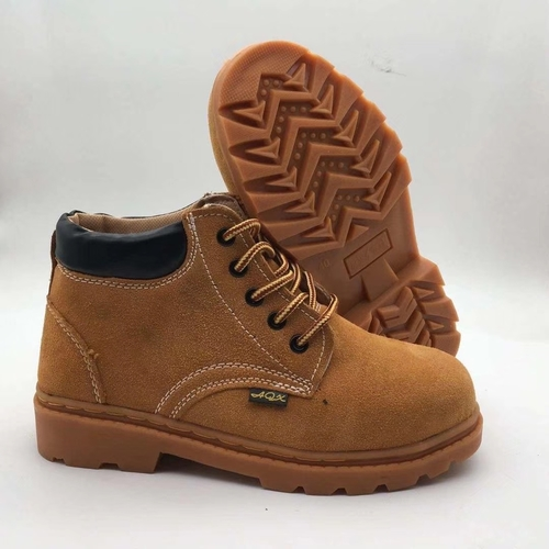 Brown Suede Leather Upper Gum-Rubber Outsole Safety Work Casual Shoes