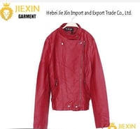 Lady Red Motorcycle PU Leather Jacket