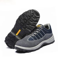 Blue Suede Leather Upper Dual PU Outsole Casual Style Safety Work Shoes
