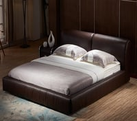 Wood Frame Structure Italian Leather Bed