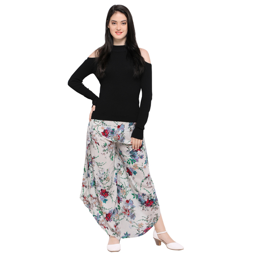 Breathable Womens White Floral Printed Round Bottom Casual Tulip Pant